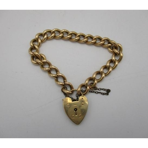 201 - A 9ct gold belchor link bracelet with a padlock clasp and a safety chain, 12.5g Location: CAB...