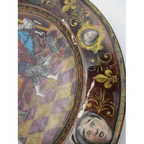 209 - An 18th/19th century Limoges enamel plate in the style of Pierre Reymond decorated to the centre wit...