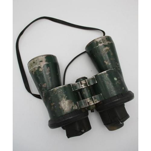 214 - German WW11 Carl Zeiss Jenna Blc U-Boat binoculars with the body in green paint, stamped 7 x 50 6290...