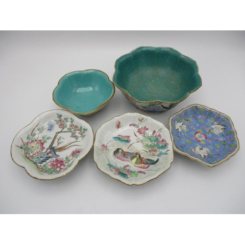 22 - 19th/20th century Chinese ceramics comprising of four dishes and bowls, each of lobed form decorated...