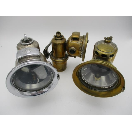 248 - Three Lucas Ltd carbide cycle and motorbike lamps, comprising of two brass examples, Calodia Cadet 5...