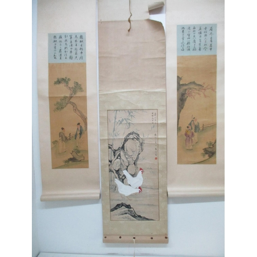 26 - Three 20th century Chinese scrolls, one of two men standing under a tree, image 23 3/4
