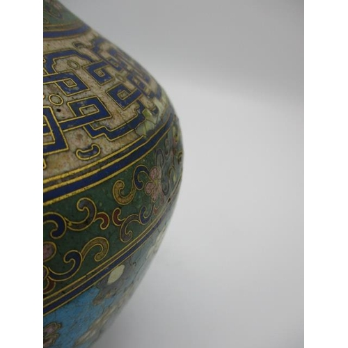 38 - A late 19th/early 20th century Chinese cloisonne vase of baluster form with a tall narrow neck, deco...