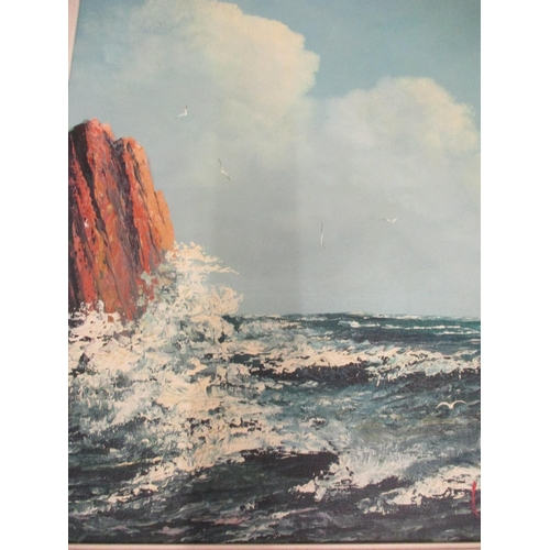 19 - Early/mid 20th century seascape with a rocky outcrop and seagulls, oil on canvas, framed and R Thoma...