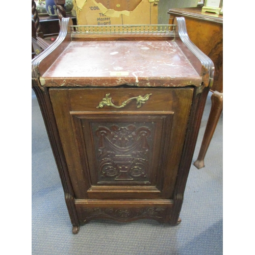 20 - A mahogany cased coal scuttle with drop down door and lead lined bucket within, having a pink marble...