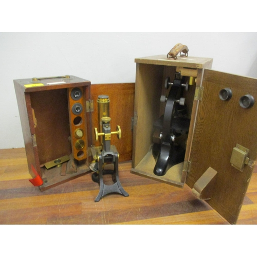 27 - A box Chards microscope with an illumination reflector and a Victorian mahogany cased students micro...