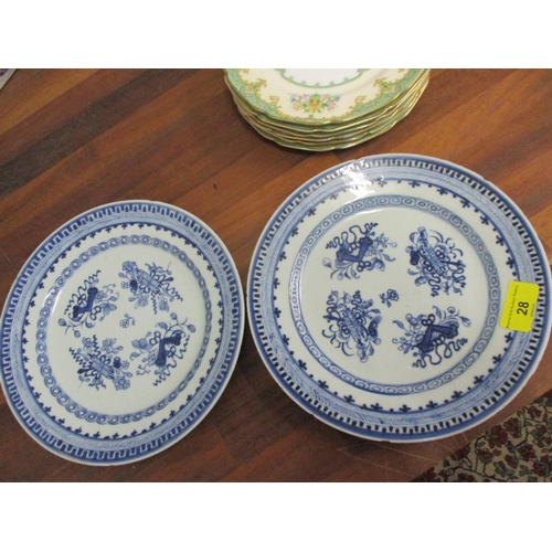28 - A pair of 19th century Chinese Kangxi style blue and white plates, together with Cristal D'Arques an...