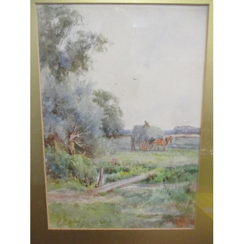 3 - C Kipling - a harvest scene with a hay laden horse and cart in a field, watercolour signed lower lef...