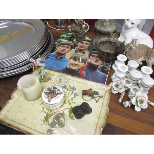 34 - A mixed lot comprising marble table lamps and others, a quantity of stainless steel catering tray, m...