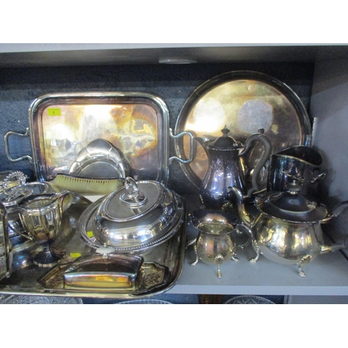 4 - A large quantity of silver plate to include three trays, hot water jugs, tea and coffee pots Locatio...