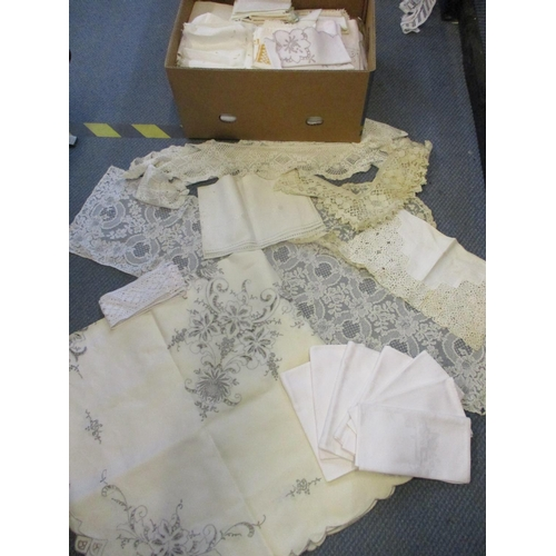 42 - Vintage table linen together with late 19th century and early 20th century lace and needlework items...