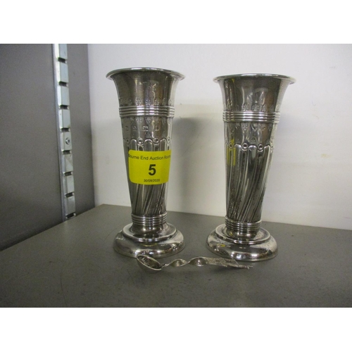 5 - A pair of silver vases together with a silver salt spoon, total weight 150.6g Location: 4:1...