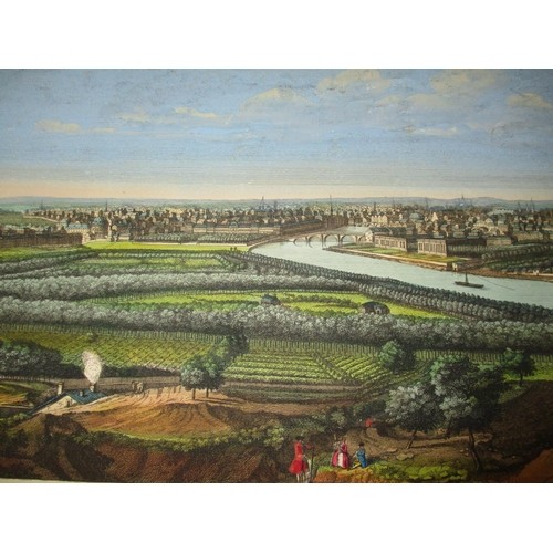 117 - After Jacques Rigaud - a view of Paris and a general view of the city of Paris, hand coloured engrav...