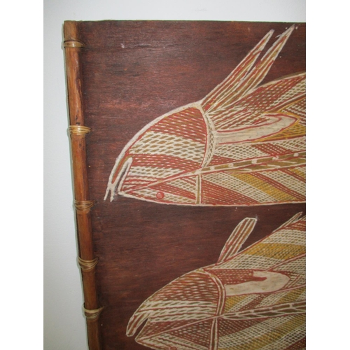 129 - Mangudja - Aborignal art Barramundi fish painting on bark, 16