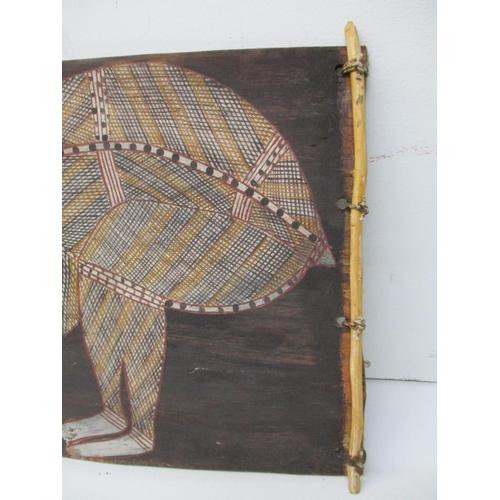 130 - Namirrki - Liverpool R Escarp, Aboriginal art depicting an anteater painting on bar, 10 3/4