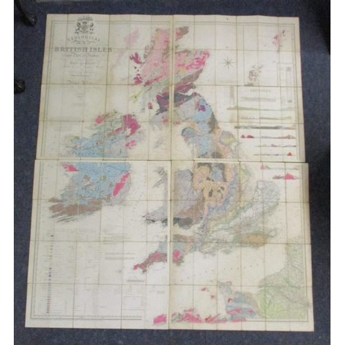 213 - A Knipes Geological Map of the British Isles and part of France, showing the inlaid navigation by me...