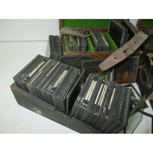 218 - A collection of magic lantern slides to include Old and New Friends at Zoo, landscapes, monks in var...