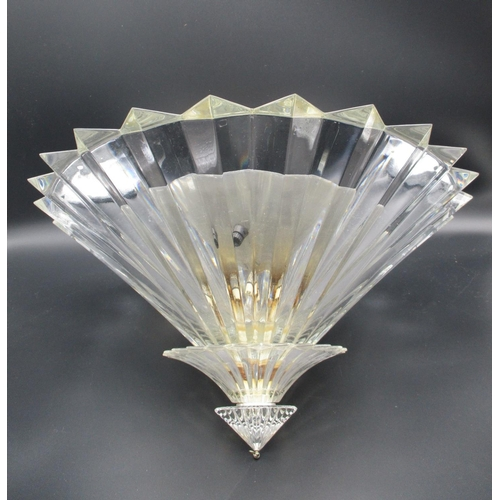 278 - A Baccarat Mille Nuits crystal ceiling light with three prism design tiers, signed Mathias, 9