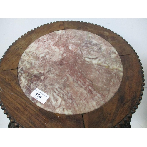114 - A late 19th century Chinese rosewood stand with a mottled marble top and bead edge, over a flower ca...