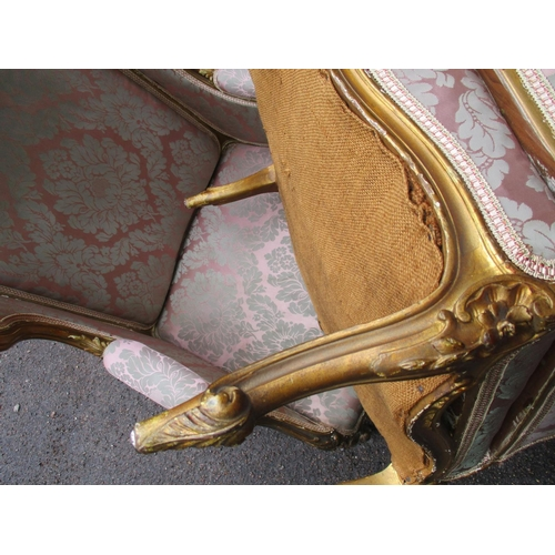 219 - A 19th century gold painted carved giltwood framed Duchesse Brisee with a serpentine carved floral c...