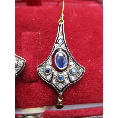 250 - A pair of silver flared drop earrings set with a central sapphire and diamonds, boxed Location: CAB...