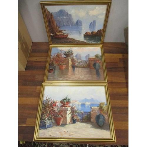 17 - Three early 20th century Italian School coastal scenes of Capri, oil on board, in gilt frames Locati...