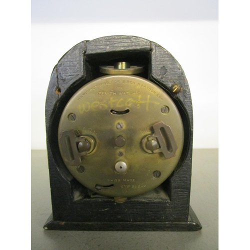 14 - A Birch & Gaydon Ltd WWI period travel alarm clock, brass cased in a leather clad, wooden case, made...