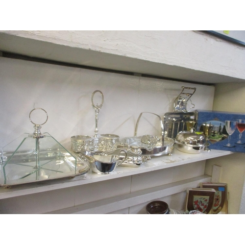 45 - Mixed silver plated table serving items to include a muffin dish and entrée dishes, together with bo...