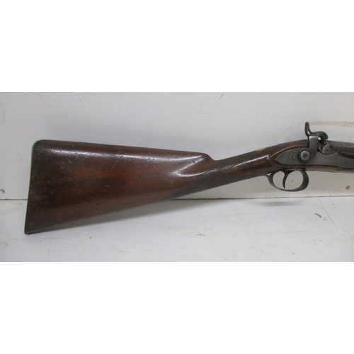 283 - A 19th Century percussion rifle musket, with diamond pattern carving to the stock and some etching t...