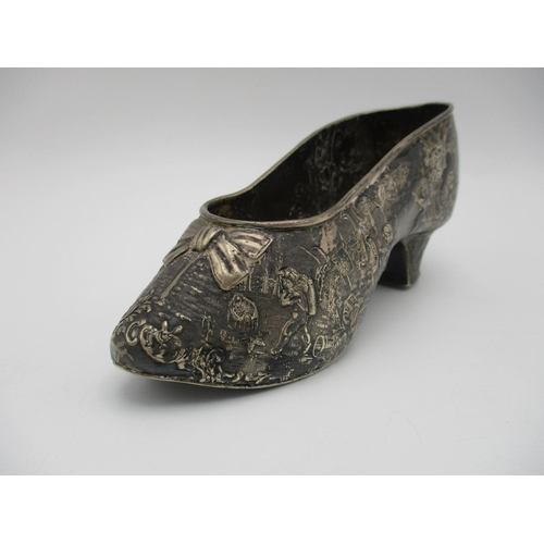 10 - A 19th century Continental silver model of a shoe, imported by Edwin Thompson Bryant, 1895, with ori...