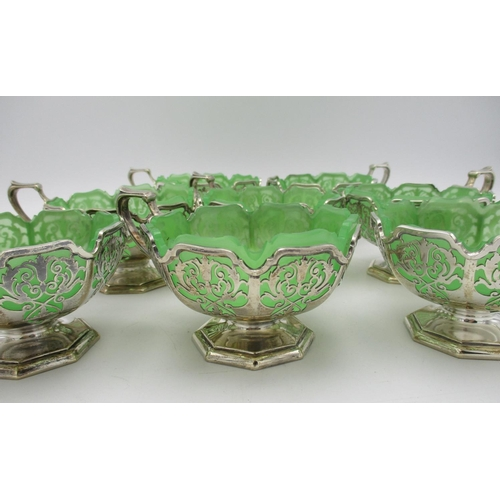 14 - A set of eight George V silver dessert coupes by Mappin & Webb, Sheffield 1932, each designed with p...