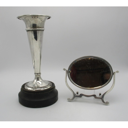 2 - An early 20th century silver trumpet vase, Birmingham 1944, designed with gadrooned border to the ri...