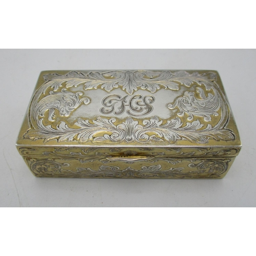 5 - A continental sterling silver snuff box, of rectangular shape with scrolled acanthus motifs througho...