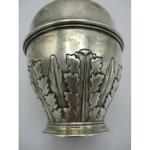25 - A George V silver tea caddy by Elkington, Birmingham 1910, designed in a lidded urn shape with acant...