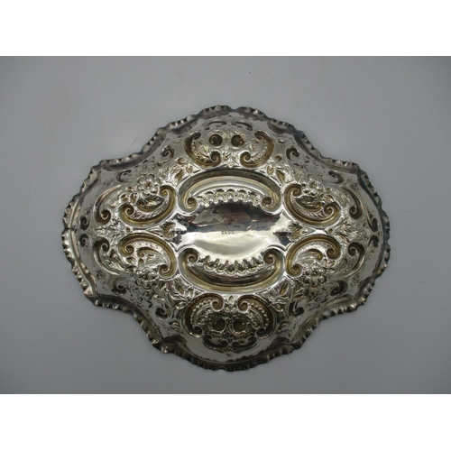 28 - A late Victorian silver dish, Sheffield 1898, possibly by Joseph Rodgers & Sons, of lobbed shape wit...
