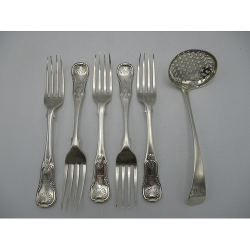 29 - A set of five George III silver dessert forks, Edinburgh 1815, in the Kings pattern, together with a...