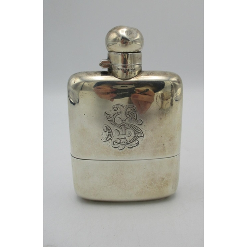 40 - A late Victorian silver hip flask by James Dixon & Sons, Sheffield 1900, the front monogrammed J.S, ...