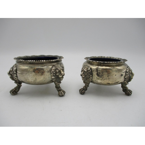 9 - A near pair of silver salts, one Victorian, London 1885 by William Evans, the other George V period,...