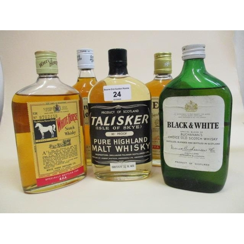 24 - Five bottles of Scotch Whisky to include Bells, Black & White, Long John and White Horse, 13 1/3 fl ...