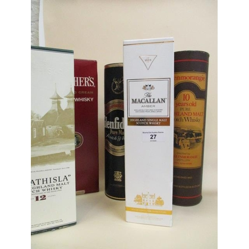 27 - Five bottles of Scotch Whisky to include Macallan Amber, Glenmorangie, Strathisla Location: STACK...