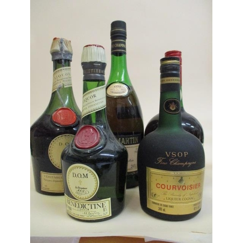 29 - Five bottles of spirit to include Remy Martin Cognac and Courvoisier Location: L.3...