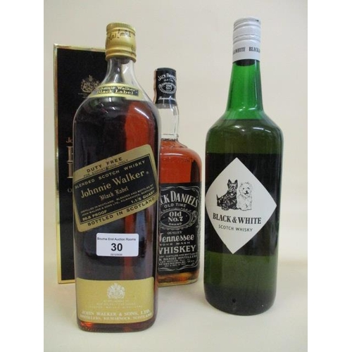 30 - Four bottles of Whiskey to include Jack Daniels, Black & White Johnnie Walker Location: L.3...