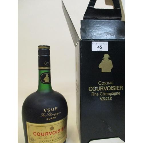 45 - One boxed bottle of Courvoisier fine Champagne Cognac VSOP, 32 f/oz Location: R.3...