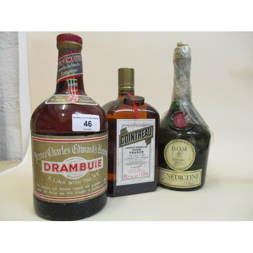 46 - Three liqueur bottles - Dom Benedictine, Cointreau and Drambuie Prince Charles Edwards liqueur...