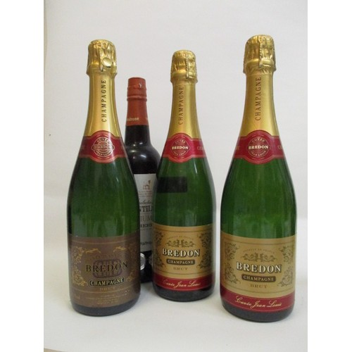 23 - Three bottles of Bredon Champagne Cuvee Jean Louis, 75cl and one bottle of sherry...