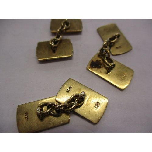 1 - A pair of 9ct gold chain and tablet cufflinks 12.6g  Location: CAB...