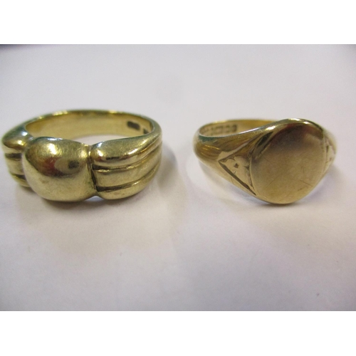 10 - Two 9ct gold rings, one a signet ring, 8.5g Location: CAB...