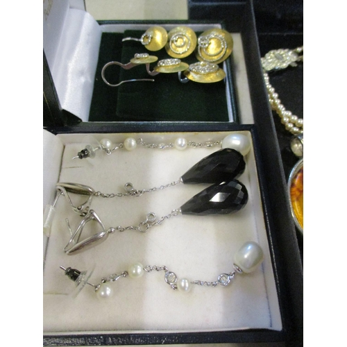 12 - Costume jewellery to include silver items stamped 925, a silver and mother of pearl dragonfly brooch...