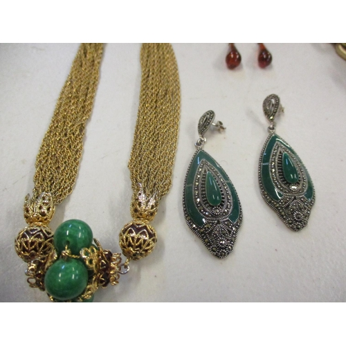 14 - Costume jewellery to include amber earrings, silver and green stone Art Deco style earrings and Indi...