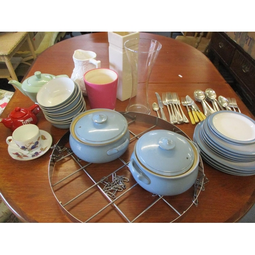 22 - Denby pottery tableware in cornflower blue and white, mixed kitchenware and an overhead circular han...
